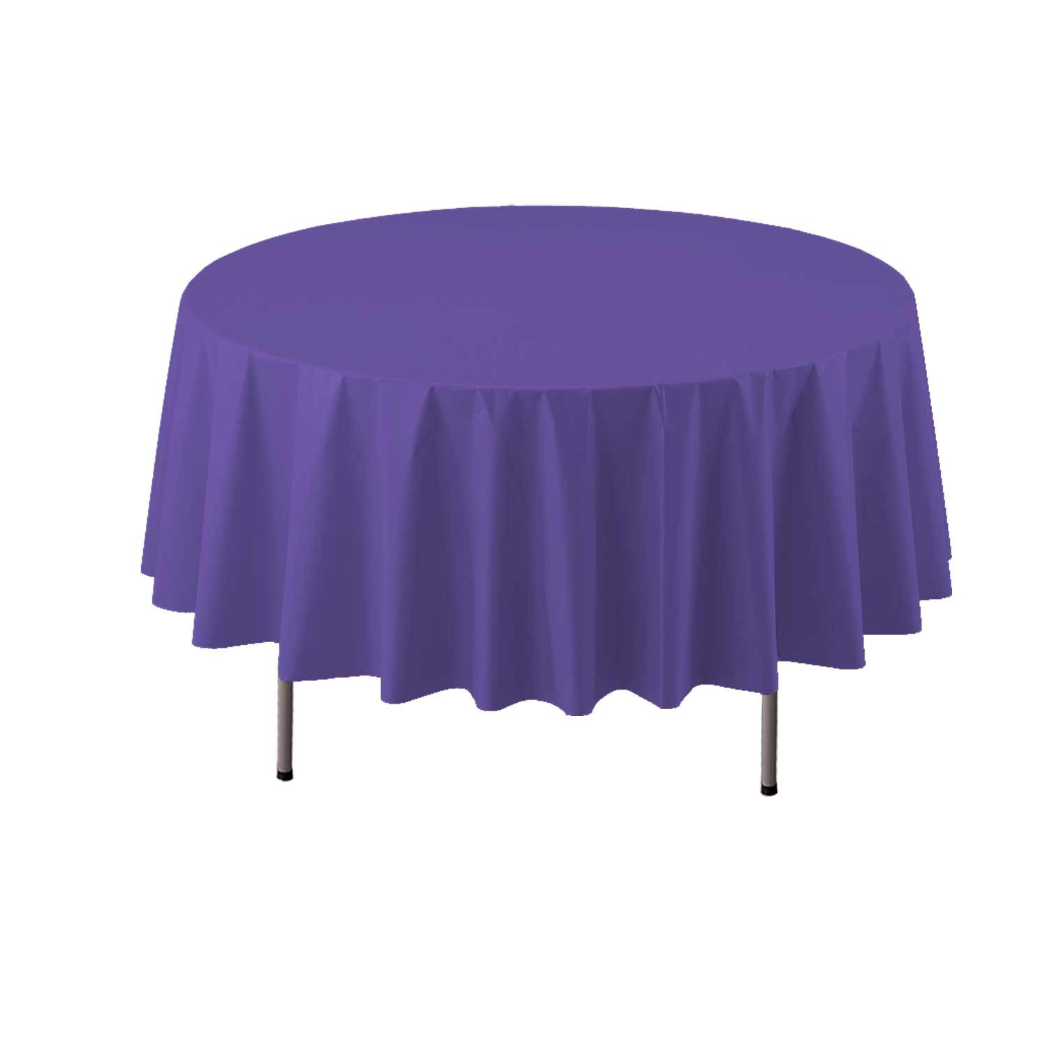 Red NW Enterprises Toys 84RD Party Essentials Heavy Duty 84 Round Plastic Table Cover Available in 22 Colors