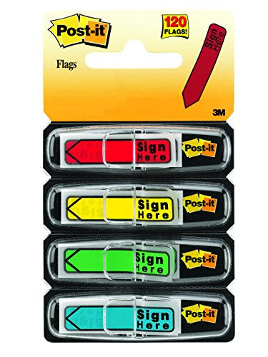Here Sign - Post-it Message Flags,Sign Here, Assorted Colors, Bold Arrow Points Rrecisely Where You Need a Document Signed.47 in. Wide, 30/Dispenser, 4 Dispensers/Pack, (684-SH)