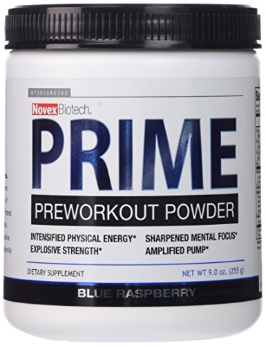Novex Biotech Prime Pre-Workout Powder, Blue Raspberry, 9 Ounce