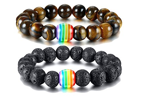 XUANPAI 2 Pcs Natural Unisex LGBT Rainbow Relationship Rainbow Bead Bracelets Gift for Lesbian Gay Couple