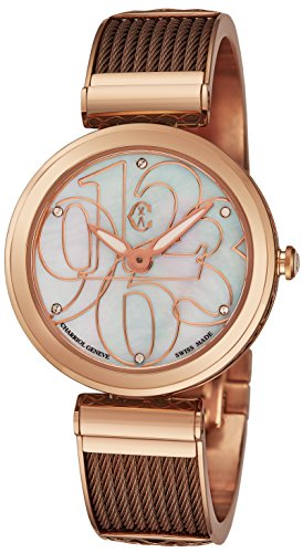 Charriol Forever Mixed Numerals Womens Watches Rose Gold Stainless Steel - 32mm Analog Mother of Pearl Face Ladies Dress Watch - Bronze Twisted Cable Bracelet Luxury Swiss Watch For Women FE32.602.002