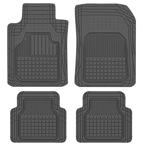 BDK M190 Black Rubber Car Floor Mats - Classic Square Grid Channels - Trim to Fit Feature, 100% Odorless (Fit Grid)