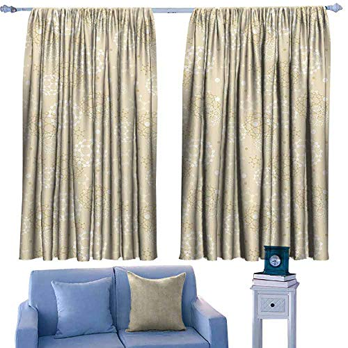 (Mannwarehouse Simple Curtain Ivory Science Molecules Motif Chemical Bonds Circular Atoms in Soft Toned Form Design for Living, Dining, Bedroom (Pair) 55