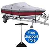 KAKIT Waterproof All Seasons 600D Polyester Trailerable Boat Cover for 17-19′ / 20-22′ V-Hull Tri-Hull Runabout,Free Boat Cover Support Kit & Storage Bag