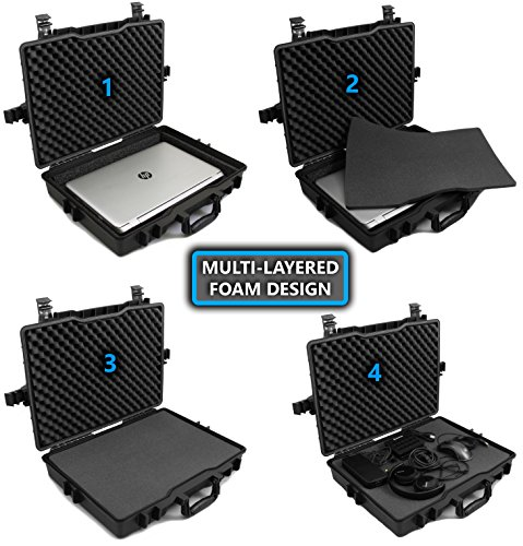 CASEMATIX 17.3'' Laptop Hard Case for Dell Alienware Laptop and Accessories Fits Alienware Area 51M AW17R4, Alienware AW15R3 and More Laptops Up to 18 Inches with Custom Foam Waterproof AIRTIGHT by CASEMATIX (Image #8)
