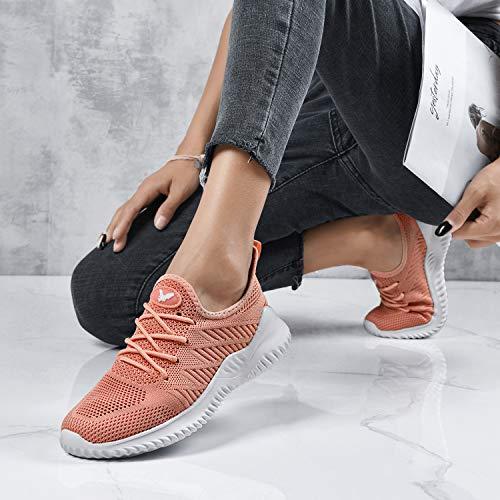 Womens Memory Foam Walking Shoes Lightweight Fashion Sports Gym Jogging Slip on Tennis Running Sneakers Coral 9 B(M) US