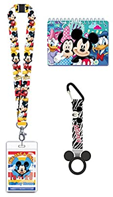 Disney Autograph Book, Lanyard, and Bottle Holder Bundle- Mickey Mouse Trip Vacation Cruise Accessory for ID and Pin Trading