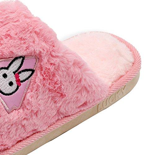 Cherioll Winter Warm Plush Slipper, Non-slip Home Slippers,Men and Women Slipper Pink