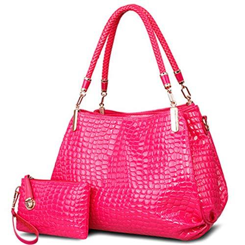 portefeuille Totes grande Red à Sac Borse à Rose Sacs main main Lady Crocodile capacité à sac bandoulière Femmes 0BfSqwZT