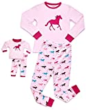 Leveret Horse Matching Doll & Girl 2 Piece Pajama Set 100% Cotton 10 Years