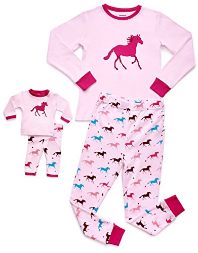 Leveret Kids & Toddler Pajamas Matching Doll & Girls Pajamas 100% Cotton 2 Piece Pjs Set (Size 2 Toddler-14 Years) (8 Years, Horse) from Leveret