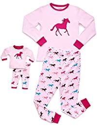 Matching Doll & Girl 2 Piece Pajama Set Top & Pants 100% Cotton (Size Toddler-14 Years) Fits American Girl Doll