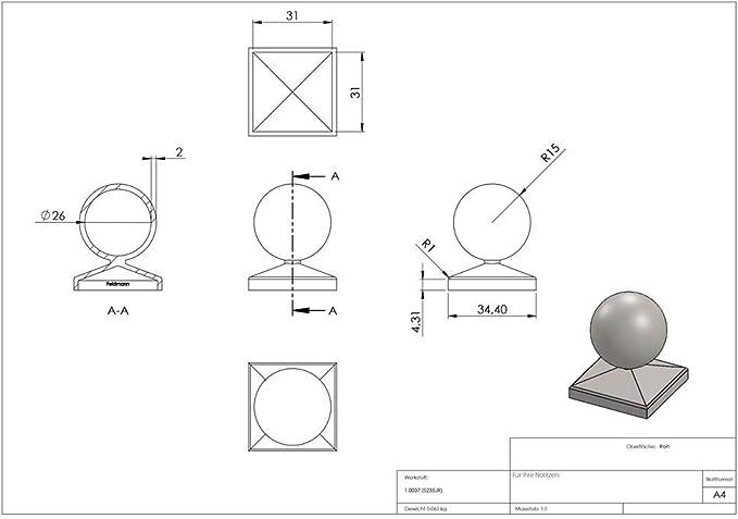 Pfeilerbedecker für Quadratrohr 100x100 mm mit Kugel Ø 100 mm Stahl Roh S235JR