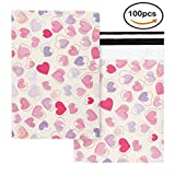 10x13 Lovely Heart Poly Mailers Pink Designer Shipping Envelopes Boutique Custom Bags Pack of 100