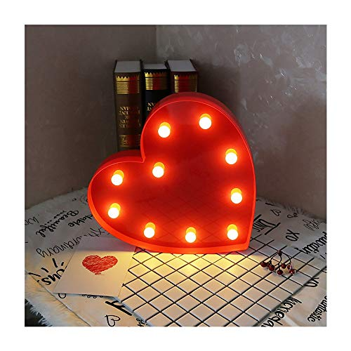 CSKB Light Up Heart Marquee Sign for Wedding LED Love Letters Lights Night Light Lamp for Kids Christmas Home Party Decoration Red Size S