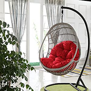 Swing Hanging Basket Seat Cushion, Thicken Hanging Egg Hammock Chair Pads Waterproof Chair Seat Cushioning for Patio Garden (Color : Red, Size : ...