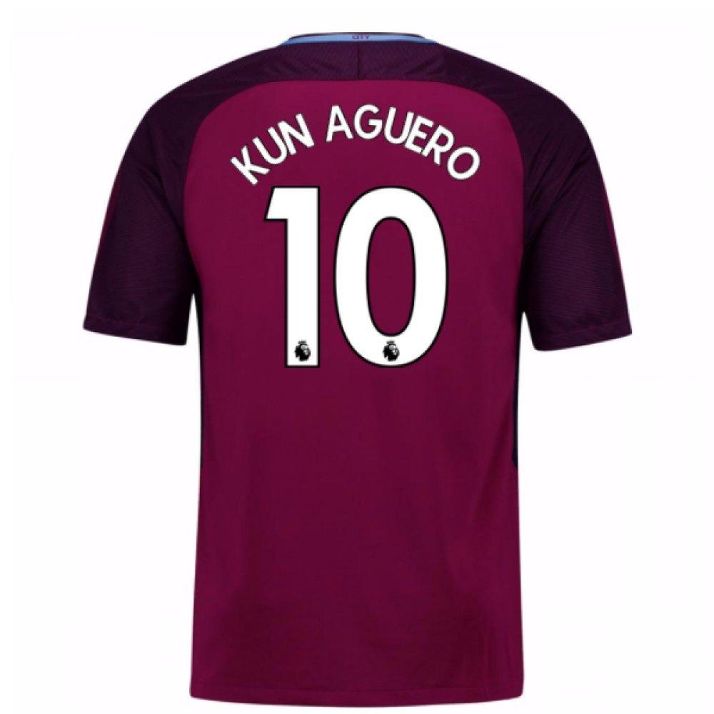 2017-18 Man City Away Football Soccer T-Shirt Trikot (Sergio Aguero 10) - Kids