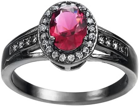 COMVIP 18K Stainless Steel Pink Round Cubic Zirconia CZ Ring