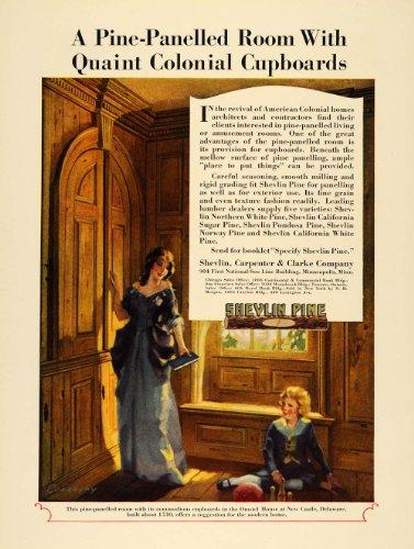 1929-ad-omstel-home-delaware-shevlin-carpenter-clarke-pine-paneling-conaughy-art-original-print-ad