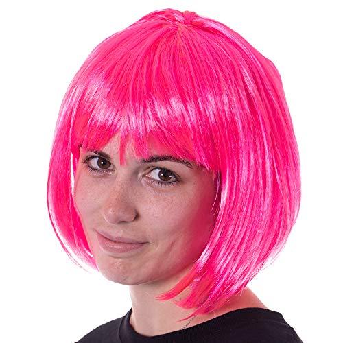 Pink Wig Halloween Costumes Idea (Neon Pink Bob Halloween Costume Synthetic Wig - Unisex, Cosplay Anime)