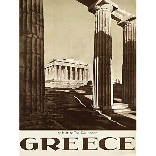 Wee Blue Coo Travel Tourism Athens Greece Parthenon Acropolis Ancient Column Large Art Print Poster Wall Decor 18x24 inch