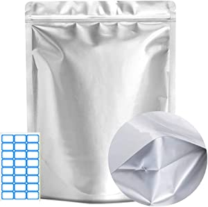 Yehaahaa Mylar Bags Extra Thick, 9.84 Mil, Mylar Bags For Food Storage, Airtight Vacuum Resealable Mylar Ziplock Bags For Storing Dehydrated Foods, Grains, Nuts (Silver, 7x10 Inch(Pack of 52))