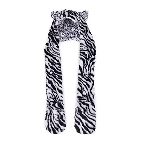 Faux Fur Animal Print Hoodie Scarf Gloves Pocket Hat Scarfs Winter Thick Stripe White