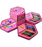 HK Toys Multicolour Art Box with Colour Pencil, Crayons, Water Colour, Sketch Pens - Pack of 46 Pieces