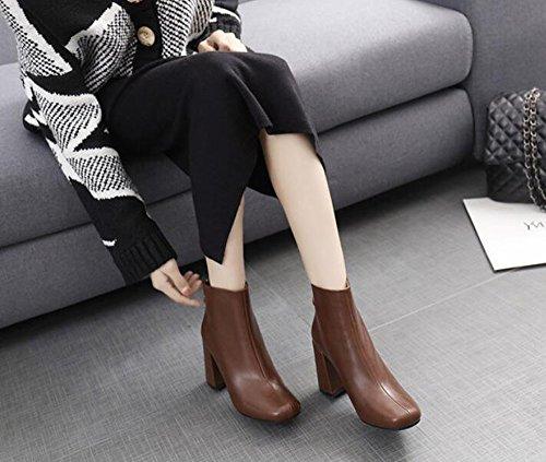 Decorativos 36 De 8 Zapatos Color Con El Botas Partido Jefe Nuevo KHSKX Metálicos Tacón Desnudo Invierno Marrón 5Cm Alto Zipper De Del Círculo Femenino Botas Gruesas Botas xw0Bqwf6nF
