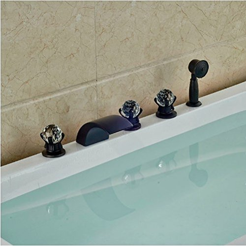 Gowe New Arrival Oil Rubbed Broze Tub Faucet 5pcs Bathroom Shower Set Swivel Spout Mixer Faucet 2