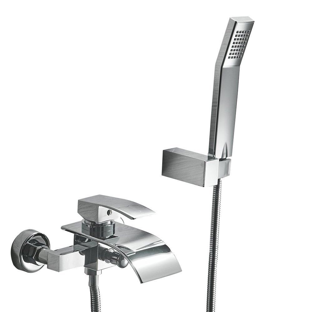 Greenspring Waterfall Wall Mount Bathtub Faucet With Shower Head Bath Tub Mixer Taps Lavatory Bath Shower Faucet with Shower Arm Mount Hole Bathroom Shower System Set Ceramic Valve Included by Greenspring