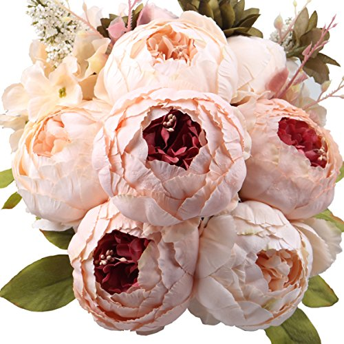 Leagel Fake Flowers Vintage Artificial Peony Silk Flowers Bouquet Wedding Home decoration, Pack of 1 (Light