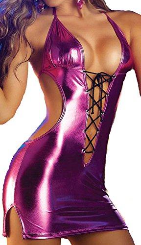 Temptation Lingerie Clothing Patent Leather Stripper Wear Dance Bodysuit Lingerie Costumes Sexy Lingerie Hot Men Erotic Wear(Purple)
