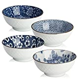 blue and white kitchen DOWAN Ceramic Cereal, Soup, or Pasta Bowls, Set of 4 Assorted Designs, Blue and White