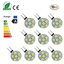 Ei-Home 10 Pack White 6000K Side Pin G4 LED Bulb, 2W Equivalent to 10-15W Halogen Bulb, 5050-6SMD DC 12V LED Lights for Reading, Car, RV, Cabinet Lighting (Not Dimmable)