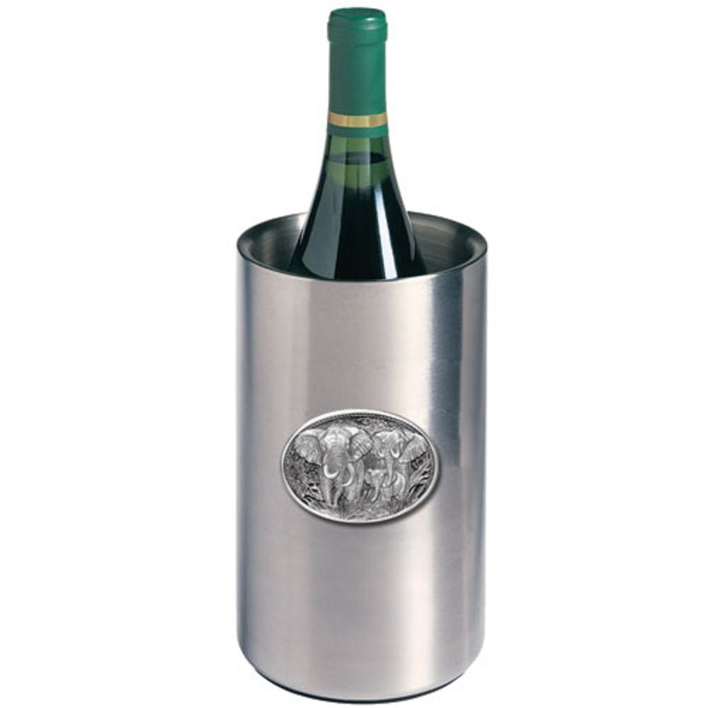 ANIMAL ELEPHANT WINE CHILLER, This is a wine chiller made of double-wall insulated stainless steel with a fine pewter logo medallion bonded to the front.