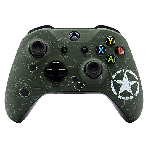 Wwii Cover - eXtremeRate WWII US Army Overlord Faceplate Cover, Soft Touch Front Housing Shell Case, Comfortable Soft Grip Replacement Kit for Microsoft Xbox One X & One S Controller