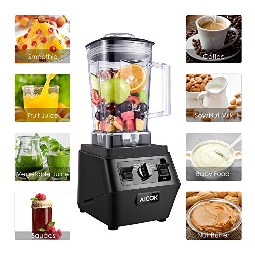 Aicok Smoothie Blender 1400W Professional High Speed Mixer 30,000RPM, with 70oz BPA-Free Tritan Pitcher, Variable Speed Controls, Stainless Steel 6 Pro Blades for Ice Crushing, Black by Aicok (Image #5)