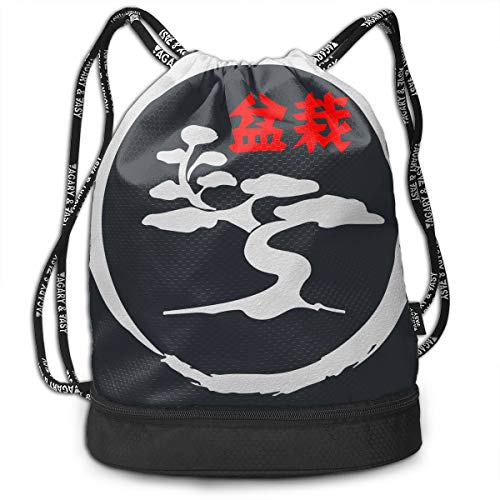 Zhangyi Bonsai Tree in Enso Circle Drawstring Backpack Sports Gym Cinch Sack Bag for Men & Women Sackpack Dance Bag ()