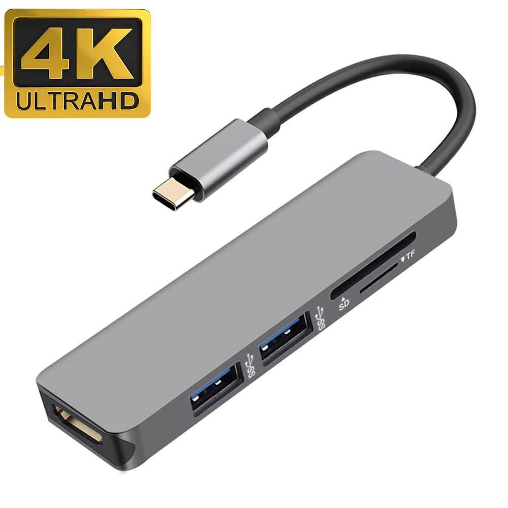 USB C to HDMI Adapter, iBosi Cheng 5 in 1 Type C Hub Thunderbolt Adapter, USB C to HDMI Adapter with USB 3.0 Ports SD & TF Card Reader Compatible with MacBook Pro, Chromebook Type C Smartphones