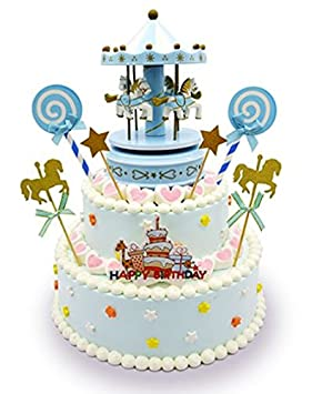 Carousel Happy Birthday Cake Bunting Topper Cake Topper Garland Birthday Party Cake Decorations Plastic Merry Go Round Horse Christmas Birthday Gift
