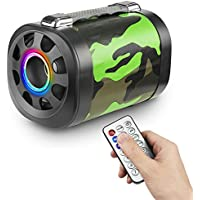 Wireless Bluetooth Speaker – Unique Camouflage Design – Play Music Through iPhone, iPad, or Android Smartphones – TF Card, Aux Support – With Handle & Remote Control – Rechargeable Battery