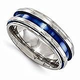 Edward Mirell Titanium Grooved Blue Anodized 7.5mm Wedding Band - Size 13