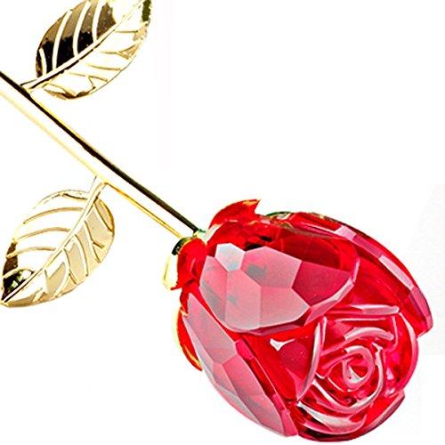 Tinksky Romantic Long Stem Crystal Rose Flower Valentine Gift Wedding Favor (Red)
