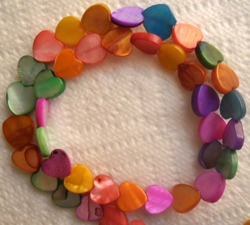 Beading Station 16-Inch Strand of 40-Piece Mix Mother of Pearl Sweet Heart Shell Beads, 8mm