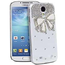 Fosmon GEM Series 3D Ribbon, Rhinestone Flower, Bow Bling Design Case for Samsung Galaxy S4 IV / i9500 - Fosmon Retail Packaging (Bow 3D Design, Clear and White)