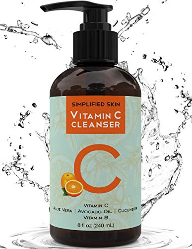 Vitamin C Facial Cleanser (8 oz) Gel for Daily Anti-Aging & Acne Treatment. Clear Pores on Oily, Dry & Sensitive Skin. Best Natural Makeup Removing Face Wash by Simplified Skin (Best Cleanser For Oily And Sensitive Skin)