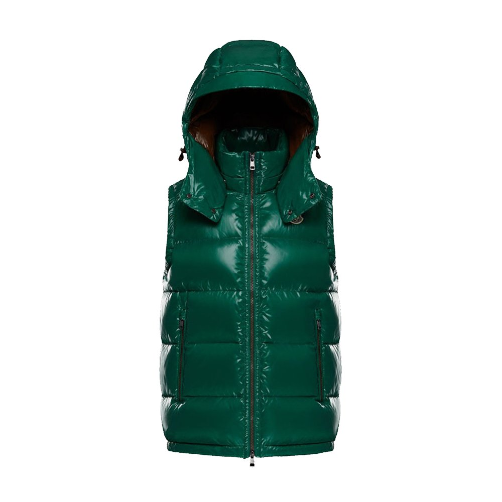 c6bead1a6 Moncler Men's Quilted Lightweight Detachable hoodie Down Vest (Green ...