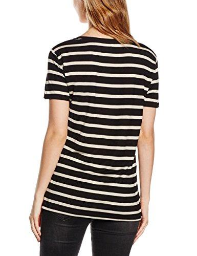Levi's Perfect Vneck Tee - Camiseta para Mujer Multicolor (CAVIAR/BIRCH STRIPE 16)