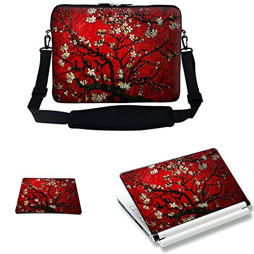 (Meffort Inc 15 15.6 inch Laptop Carrying Sleeve Bag Case with Hidden Handle & Adjustable Shoulder Strap with Matching Skin Sticker and Mouse Pad Combo - Vincent van Gogh Cherry Blossoming)